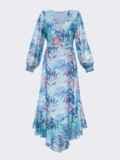 Шифоновое платье с принтом и асимметричным подолом голубое 53050, фото 6