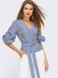 Синяя блузка на запах в клетку с вышивкой и объемными рукавами 54626, фото 1