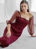 Приталенное платье с фатиновыми рукавами в горох бордовое 50063, фото 1
