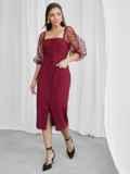 Приталенное платье с фатиновыми рукавами в горох бордовое 50063, фото 3