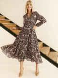 Бежевое платье с принтом и юбкой-полусолнце 52830, фото 2