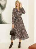 Бежевое платье с принтом и юбкой-полусолнце 52830, фото 3