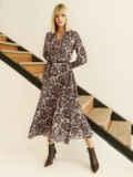 Бежевое платье с принтом и юбкой-полусолнце 52830, фото 4