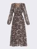 Бежевое платье с принтом и юбкой-полусолнце 52830, фото 5