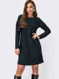 Платье-трапеция с длинным рукавом и контрастным кантом синее 55408, фото 1