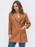 Коричневый двубортный пиджак из льняной ткани 54097, фото 3