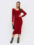 Облегающее платье с широким V-образным вырезом красное 52080, фото 1