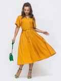 Льняное платье-кимоно с разрезом спереди желтое 46828, фото 1