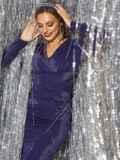 Платье из люрекса с драпировкой по лифу синее 42884, фото 1