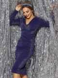 Платье из люрекса с драпировкой по лифу синее 42884, фото 2