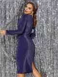 Платье из люрекса с драпировкой по лифу синее 42884, фото 3