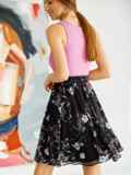 Шифоновая юбка-мини с цветочным принтом черная 53881, фото 3