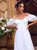 """Белое платье-клеш из прошвы с рукавами """"фонариками"""" 54503, фото 1"""