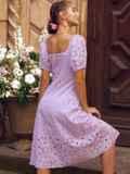"""Сиреневое платье-клеш из прошвы с рукавами """"фонариками"""" 54504, фото 3"""