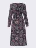 Принтованное платье с жабо и юбкой-трапецией черное 52936, фото 5