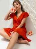 """Терракотовое платье с принтом и рукавом """"крылышко"""" 46864, фото 2"""