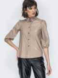 Бежевая рубашка из эко-кожи с рукавами-буфами 44886, фото 2