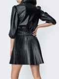 Плиссированная юбка из экокожи чёрная 44885, фото 2