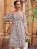 Платье из шифона молочного цвета с завышенной талией 54380, фото 1