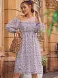 Платье из шифона молочного цвета с завышенной талией 54380, фото 2