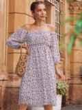 Платье из шифона молочного цвета с завышенной талией 54380, фото 3