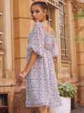 Платье из шифона молочного цвета с завышенной талией 54380, фото 4