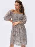 Платье из шифона молочного цвета с завышенной талией 54380, фото 5
