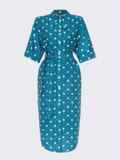 Хлопковое платье-рубашка в горох с цельнокроеным рукавом бирюзовое 54022, фото 4