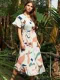 Платье из софта с принтом на пуговицах бежевое 53695, фото 1