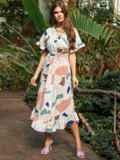 Платье из софта с принтом на пуговицах бежевое 53695, фото 2