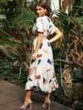 Платье из софта с принтом на пуговицах бежевое 53695, фото 3