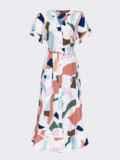 Платье из софта с принтом на пуговицах бежевое 53695, фото 4