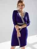 Темно-синее платье батал с отделкой спереди 53204, фото 7
