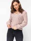 Ажурный свитер с треугольным вырезом пудровый 52887, фото 2