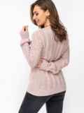 Ажурный свитер с треугольным вырезом пудровый 52887, фото 3