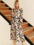 Бежевое платье из шифона с принтом и воротником-аскот 53053, фото 5