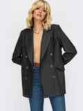 Двубортный пиджак графитового цвета с карманами 55111, фото 2