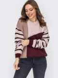 Контрастный свитер с круглым вырезом пудровый 52888, фото 2