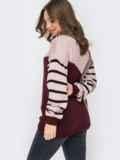 Контрастный свитер с круглым вырезом пудровый 52888, фото 3