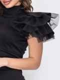 Платье с разрезом спереди и рукавом-крылышко черное 53518, фото 3