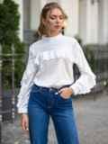 Шелковая блузка с оборкой по лифу и рукавам белая 49437, фото 1