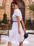 Платье-клеш белого цвета из шифона в горох 54383, фото 2
