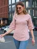 Приталенная блузка из прошвы пудрового цвета 49507, фото 1