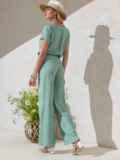 Костюм мятного цвета из прямой блузки и брюк-клеш 49331, фото 2