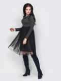 Серое платье с фатиновой юбкой 13713, фото 2