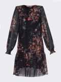 Черное платье-трапеция из шифона с принтом 53312, фото 5