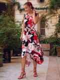 Асимметричное платье из шатапеля с цветочным принтом коралловое 53879, фото 2