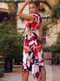 Асимметричное платье из шатапеля с цветочным принтом коралловое 53879, фото 3