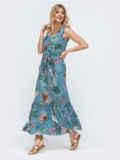 Длинное платье в полоску с оборкой по низу голубое 46862, фото 2
