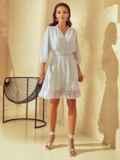 Короткое платье из шифона с расклешенной юбкой белое 53791, фото 3